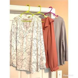 Loft floral ruffle neutral blouse bundle